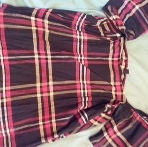 Pink and black plaid off the shoulder shirt